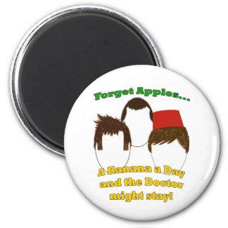 Three Doctors, Apples, and Bananas Fridge Magnets