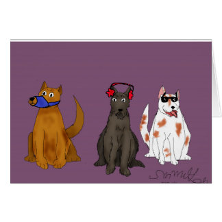 """Three Dogs Obey Cards (5""""x 7""""), envelopes included"""
