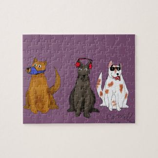 """""""Three Dogs Obey"""" Puzzle, 8"""" x 10"""", 110 pieces Jigsaw Puzzle"""