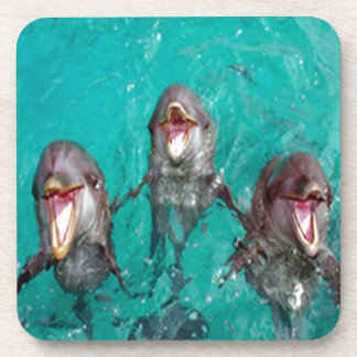 Three Dolphins in the ocean Drink Coasters