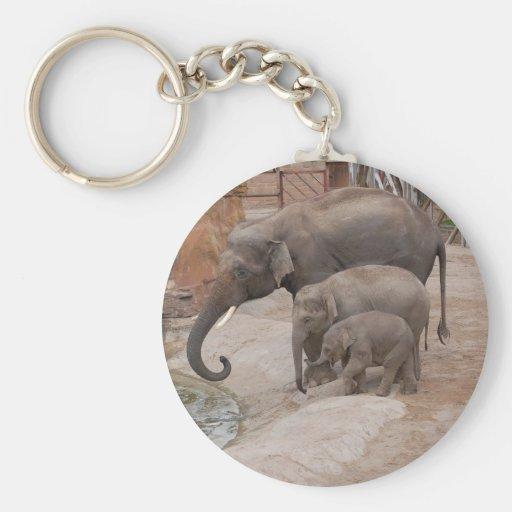Three Elephants Keychain