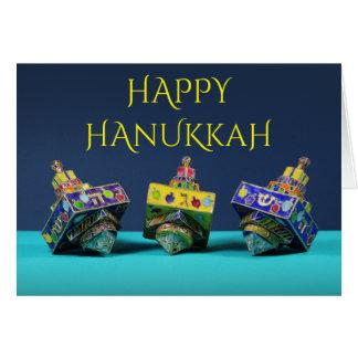 Three enameled dreidels Hanukkah card