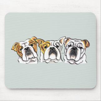 Three English Bulldogs Mousepad