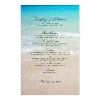 Three Entree Custom Beach Wedding Menu Flyer Design