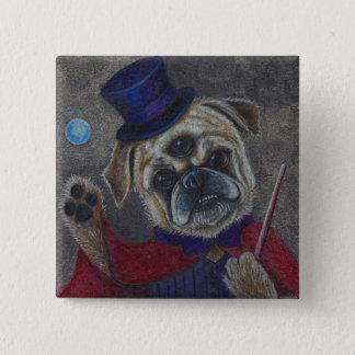 Three Eye Pug Dog Magic Show Art Print 15 Cm Square Badge