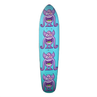 Three-eyed alien monster laughing mischievously skateboard