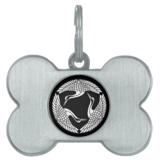 Three feather crane pet tag