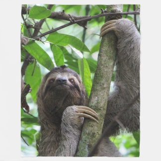 Three finger sloth fleece blanket