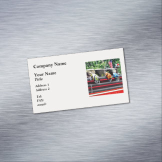 Three Fire Helmets On Fire Truck Magnetic Business Card