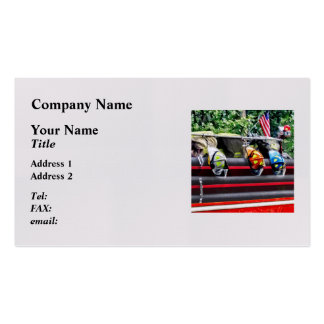 Three Fire Helmets On Fire Truck Pack Of Standard Business Cards