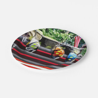 Three Fire Helmets On Fire Truck Paper Plate