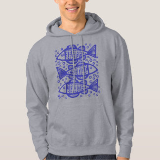Three Fish - Electric Blue Hoodie