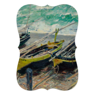 Three Fishing Boats by Claude Monet 13 Cm X 18 Cm Invitation Card