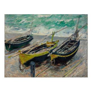 Three Fishing Boats by Claude Monet Postcard