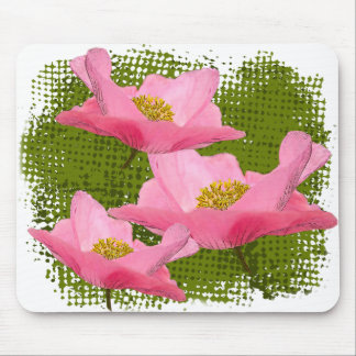 Three Floating Pink Poppy Close-up Mouse Pad