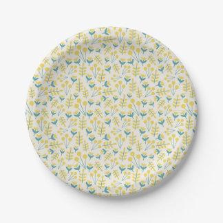 three flowers paper plate