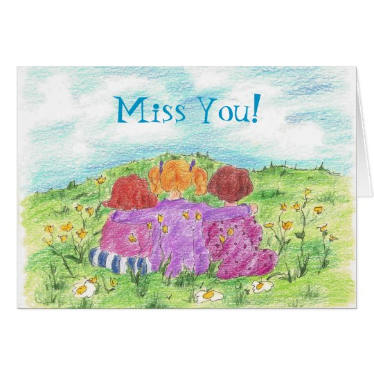 Three Friends Summer Flower Meadow Miss You  Card