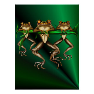 Three Frogs  Poster