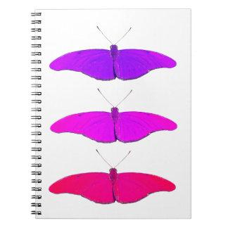 three fuchsia wink butterflies spiral notebook