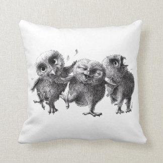 Three Funny Crazy Owls Throw Pillow