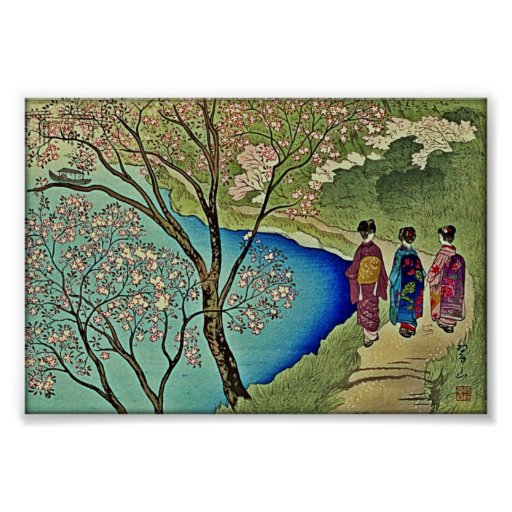 Three Geishas by the Water Japanese Woodblock Art Posters