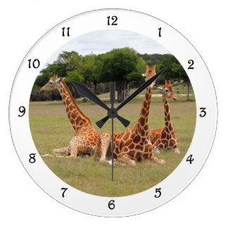 Three Giraffe at Fossil Rim Wall Clack Large Clock