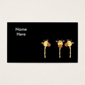 Three Giraffes Cartoon. Business Card