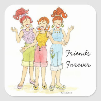 Three girl friends forever sticker