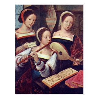 Three Girls Playing Music Postcard