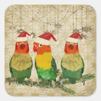 Three Golden Birds Holiday Sticker