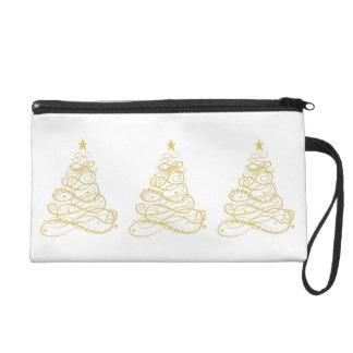 Three Golden Metallic Filigree Christmas Trees Wristlets