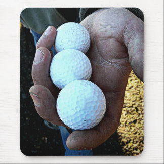 Three Golf Balls in Rough, Dirty Hands Mouse Pad