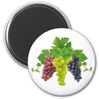 Three grapes 6 cm round magnet