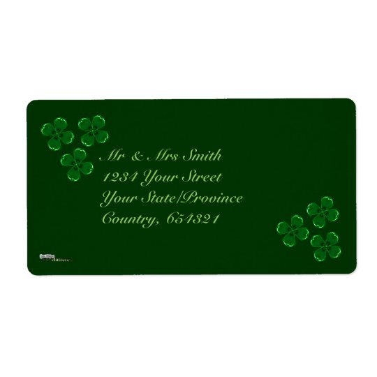 Three Green Shamrocks Shipping Label