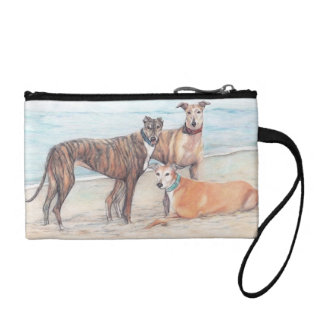 Three Greyhounds on the Beach Dog Art Key/Coin Bag Change Purses