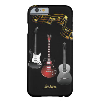 Three Guitars and Music Notes, Name Barely There iPhone 6 Case