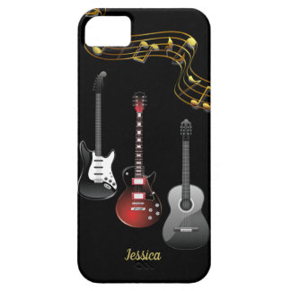 Three Guitars and Music Notes, Name Case For The iPhone 5