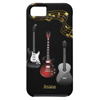 Three Guitars and Music Notes, Name iPhone 5 Case