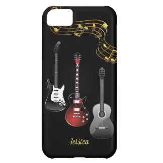 Three Guitars and Music Notes, Name iPhone 5C Case