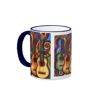 Three Guitars Ringer Coffee Mug