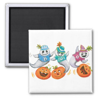 Three Happy Ghosts and Pumpkins Magnets
