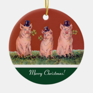 Three Happy Pigs  - Funny Christmas Ornament