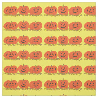 Three Happy Smiling Pumpkins Halloween Fabric