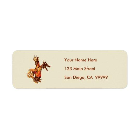 Three Headed Copper Dragon Return Address Label