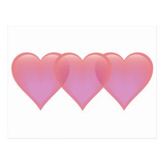 Three hearts - pink and purple postcard