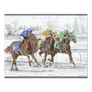 Three Horse Race - Neck and Neck 11 Cm X 14 Cm Invitation Card