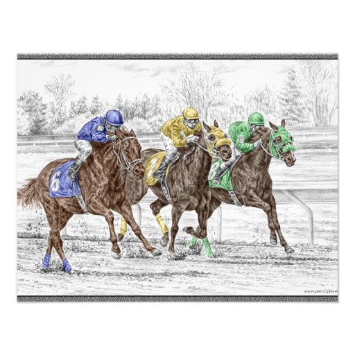 Three Horse Race - Neck and Neck Personalized Invites