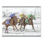 Three Horse Race - Neck and Neck 11 Cm X 14 Cm Invitation Card