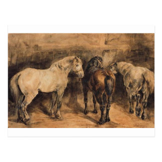 Three horses in their stable by Theodore Gericault Postcard