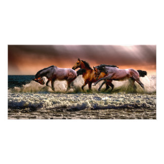 Three Horses Trotting in the Ocean Card